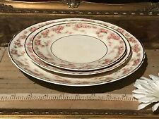 3 Piece Antique Vintage Dresden China Pink Rose 3 Plate
