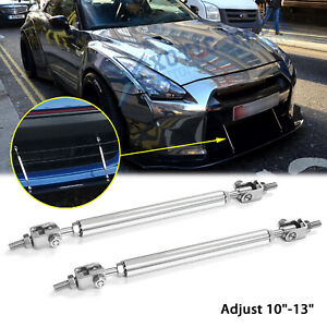 "For Nissan 370Z GTR Adjustable 10""-13"" Front Bumper Silver Splitter Support Bars"