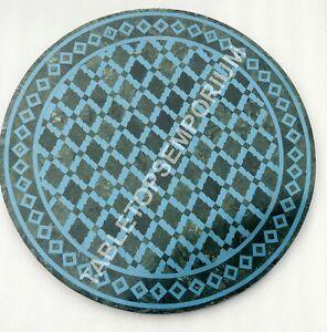 """24"""" Green Marble Round Modern Top Coffee Table Inlay Mosaic  Garden Decor  E527"""