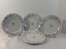 """LYNNS FINE CHINA  Luncheon Plates 7 1/2"""" BLUE  FLOWERS DESIGN With Silver Trim"""