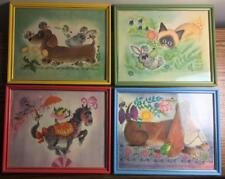 LOT of 4 Vintage 1960s GEORGE BUCKETT Litho Prints Colorful Framed Artwork NICE