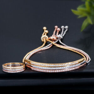 Adjustable Cubic Zirconia CZ Bracelet Ring Women Chain Bangle Party Jewelry Gift