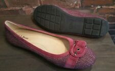 LL BEAN WOMENS 9.5M RASPBERRY TWEED W/BUCKLE FRONT SLIP ONS FLATS 0HPH6 / 102206