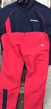 Vintage DS Size M Diadora Pants Polyester Blue & Red Jogging Suit Made In Italy