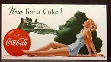 Now For A Coke TIN SIGN Vtg Pinup Coca Cola Bottle Art Retro Bar Wall Decor