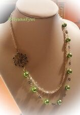 Filigree Flower Feature Necklace With Pearl Green...Beautiful....