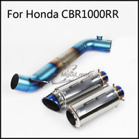 For Honda CBR1000RR 2008-2016 Slip on Exhaust Connecting Mid Pipe + Muffler Pipe