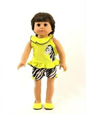 """Yellow Zebra Shorts Set Fits 18"""" American Girl Doll Clothes"""