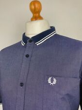 Fred Perry | Tipped Flat Knit Collar Short Sleeve Oxford Shirt XXL|46 (Blue) Mod