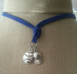Leather Necklace Baseball Ball Hat Pendant Handmade Surfer Sports Unisex Choker