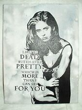 Canvas Painting Buffy The Vampire Slayer Quote Grey B&W 16x12 inch Acrylic