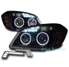 FOR 05-10 CHEVY COBALT HALO LED BLACK PROJECTOR HEADLIGHTS HEADLAMP W/BUMPER DRL