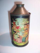 Primitive Tole Painted Cone Top Beer Soda Toleware Can