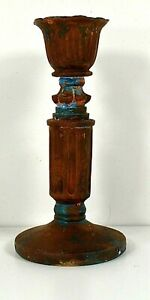 """HD78 CANDLESTICK 5.50"""" TALL BROWN ANTIQUED VERDIGRIS FINISH NICE HOLIDAY GIFT"""