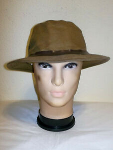 Vtg FILSON Packer TIN CLOTH Fishing FEDORA Waxed CANVAS Bucket HAT L~MADE IN USA