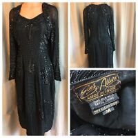 Eves Allure 80's Party Cocktail Dress Pure Silk Black Beads Sequin Ball Gown M