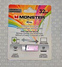 MONSTER DIGITAL 32GB DUAL USB 3.0 MICRO USB EXTERNAL FLASH DRIVE FOR PHONE & TAB