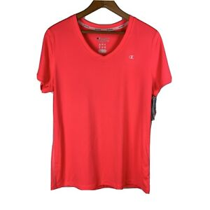 CHAMPION Women's Size L Neon Training Tee Quick Dry Moisture Wicking V-Neck NWT
