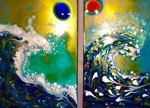 "Beautiful  Pair Of Modernist Art Enamel Cloisonné ""THE WAVE""Artist Signed KAREKA"