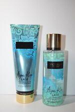 Aqua Kiss Lace Victoria's Secret Fragrance Mist and Lotion Gift Set Full New