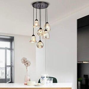 Modern 6 light Mercury Crackle Glass Cluster Pendant Hanging Kitchen Chandelier