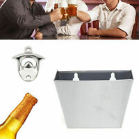 Wall Mount Bar Bottle Beer Opener Cap Stainless Box Catcher with Screws durable