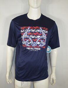 Realtree Men's T shirt M Fishing Stripe Tee Navy NWT