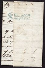 1835 Cornish entire Callington penny post re-used Gloucester to Kempley to Beer