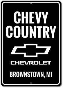 Chevy Country Street Sign Personalized Garage Logo Chevrolet Aluminum Wall Decor