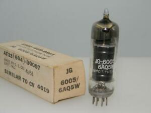 1961 GE JG 6005 6AQ5W NOS NIB Black Plate Copper Grid Halo Serious Tubes M820
