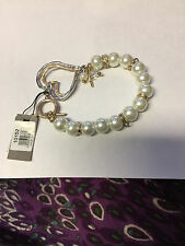 Cross & Charms - Nwt Canvas -Pearl Bracelet With Heart ,