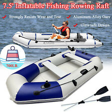 4 Person PVC Inflatable Fishing Boat Portable Rowing Raft Canoe Kayak Dinghy Oar