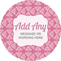 Hen Party Damask Black and White V4 Sticker Labels for Party Bag Sweet Cones