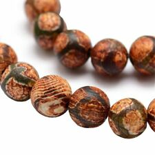 Tibet DZI Achat Buddha Perlen 8mm Natur Edelstein Rund Tibetanischer BEST G759