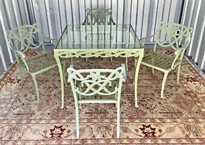 "Highly Sought After Vintage Brown Jordan ""Day Lilly"" Pattern 5 pc Patio set"