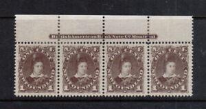 Newfoundland #42 Extra Fine Plate Strip Of Four Unused (No Gum)