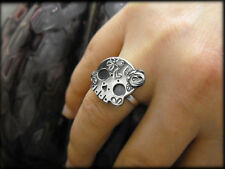 Cute Sterling Silver Sugar Skull Ring with Rose