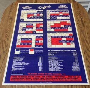 Los Angeles Dodgers VTG 1990 Full Size Poster Team Schedule 28x41 MLB Baseball