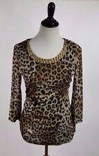 Alfani Women's Top Size S Animal Print Bling Gold Beads Studs Sheer Sleeves NWT
