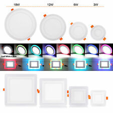3 Mode Dual Color LED Ceiling Recessed Panel Down Light Spot Lamp White+RGB/Blue