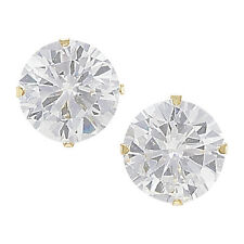 8mm Round Cubic Zirconia 9Ct Gold Stud Earrings