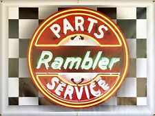 RAMBLER PARTS SERVICE STATION NEON EFFECT BANNER SIGN LARGE GARAGE ART 4' X 3'