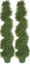 "2 Artificial 5' 4"" Cypress Spiral Topiary Tree Outdoor Cedar Pine UV Bush 6 64"""