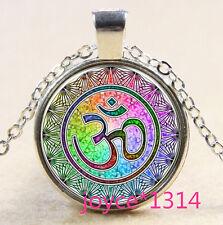Om Pendant , Om Symbol Necklace , Namaste Yoga Jewelry ,Silver #573