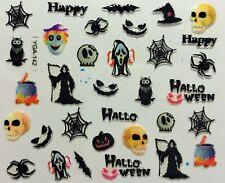 Halloween Nail Art Adesivi trasferimenti TESCHIO PIPISTRELLI STREGA RAGNATELA Gufo (YGA142)