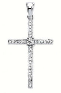 """20% OFF:  RHODIUM PLATED 925 HALLMARKED SILVER PAVE SET CROSS & 18"""" CHAIN"""