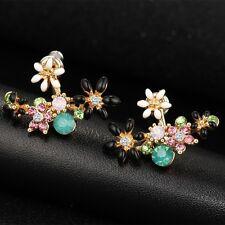 1pair Women Earring Classics Princess Rhinestone Flowers Earrings Jewelry Pretty Black