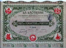 Indochina - LA LAOTIENNE Exploitation Produits Laos Annam, Paris 1900 + Coup.