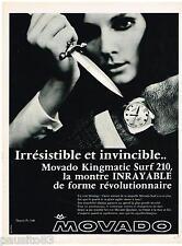 PUBLICITE ADVERTISING 095  1968  les montres MOVADO KINGMATIC  SURF 210