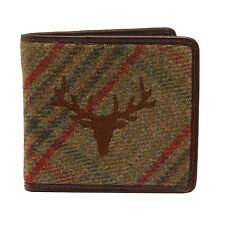 PellMell - Green Islay Tweed Stag Wallet with Coin Purse and Brown Leather Trim